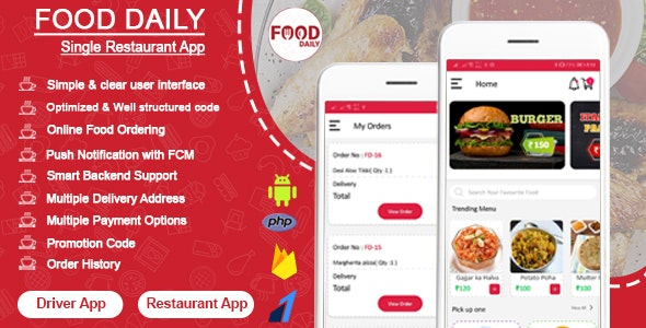 Food Daily v1.0.3 - An On Demand Android Food Delivery App, Delivery Boy App and Restaurant App